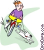 Vector Clipart image  of a young boy on bike with dog