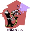 Vector Clipart graphic  of a house painter