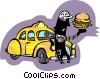 Vector Clipart illustration  of a taxi driver taking lunch break
