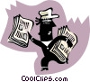 newspaper boy Vector Clipart illustration