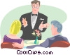 Vector Clip Art image  of a waiter serving couple