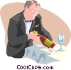 waiter presenting wine bottle Vector Clip Art picture