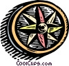 Vector Clipart illustration  of a woodcut compass