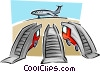 Vector Clipart graphic  of a staircases at airport