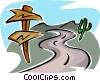 road with sign and cactus Vector Clipart illustration