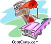 hotel with red carpet extended to car Vector Clipart illustration