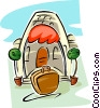 resort with suitcase at step Vector Clipart illustration