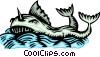 Woodcut ocean creature Vector Clipart picture