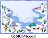 Vector Clipart image  of a winter landscape