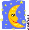 Vector Clipart graphic  of a happy moon