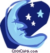 sleepy moon Vector Clip Art graphic