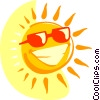 Vector Clip Art image  of a Smiling sun with sunglasses
