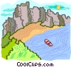 Vector Clip Art image  of a coast with boat