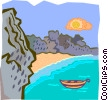 coast with boat Vector Clip Art picture