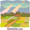 Vector Clip Art graphic  of a pastoral scene