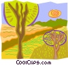 Vector Clipart image  of a Trees with paths