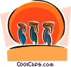 Women carrying baskets on their heads Vector Clipart illustration