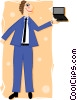 Vector Clip Art image  of a man with laptop PC