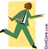 Vector Clip Art picture  of a businessman on the go