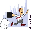 rushing for work Vector Clip Art graphic