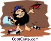 Vector Clip Art graphic  of a Caveman the artist