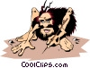 Vector Clipart image  of a Caveman planning