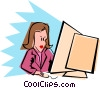 woman at PC Vector Clip Art picture