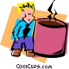 Vector Clip Art image  of a coffee fanatic