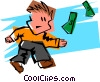 scrambling for dollars Vector Clipart image