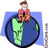 Vector Clipart picture  of a sitting on top of the world