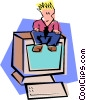 sitting on PC Vector Clipart illustration
