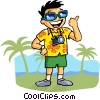 Vector Clipart illustration  of a Tourist with camera