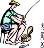 man fishing Vector Clipart graphic