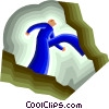 Vector Clip Art image  of a crossing the chasm