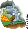 Vector Clipart image  of an applying the brakes