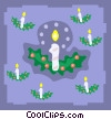 Vector Clip Art image  of a candles with holly