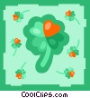 Four leaf clovers with hearts Vector Clipart graphic