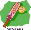 cricket bat and ball Vector Clipart illustration