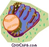 Vector Clip Art image  of a baseball glove with ball