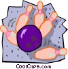 Vector Clip Art picture  of a Bowling ball striking pins