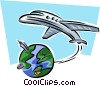 plane leaving planet earth Vector Clip Art image