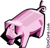 Vector Clip Art picture  of a Stylized pig