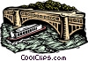 Vector Clipart image  of a woodcut tour boat