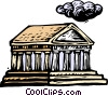 Vector Clip Art picture  of a Woodcut European architecture