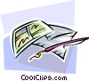 Vector Clipart image  of a letter writing