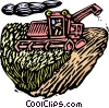 Vector Clip Art graphic  of a Woodcut combine