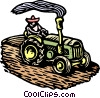 Woodcut tractor Vector Clipart illustration