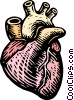 woodcut heart Vector Clipart picture