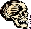 Vector Clip Art graphic  of a woodcut skull