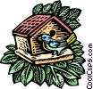 Vector Clipart illustration  of a bird at birdhouse